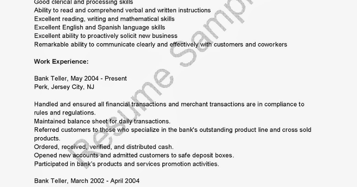 Job Bank Resume Bank Teller Job Description For Resume Resume Brefash  Resume For Teller