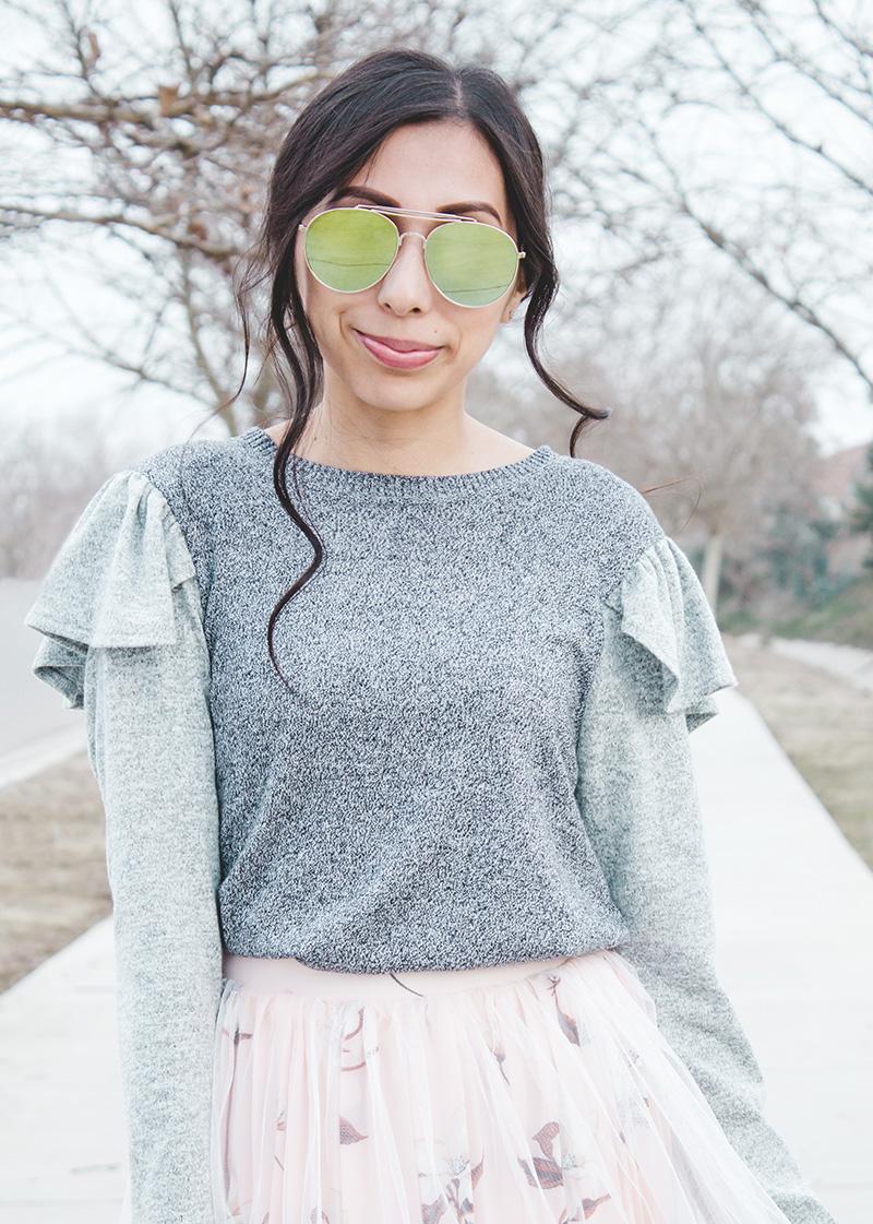 close up shoulder ruffle sweater refashion