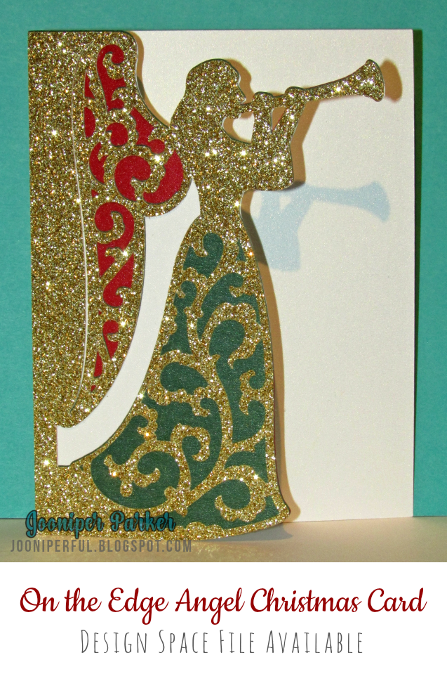 Heres My On The Edge Angel Christmas Card I Designed In Design Space Using An Angel That Is Included In The Cricut Access Subscription