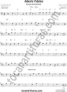 Violonchelo y Fagot Partitura de Adeste Fideles O come All Ye Faithful Sheet Music for Cello and Bassoon Music Scores