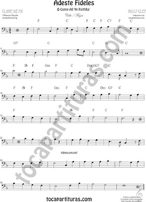 Adeste Fideles O come All Ye Faithful Sheet Music for Cello and Bassoon Music