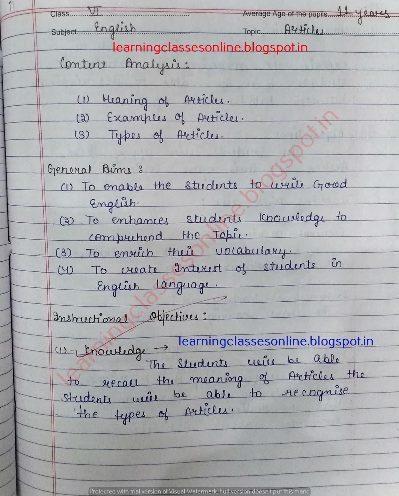 Pupil Teacher Teaching Lessons - Mega Lesson Plans - Topic ( Articles - Grammar ) - English Lesson Plan B.Ed
