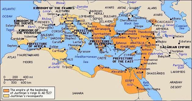 Egipto como parte del Imperio Bizantino, c. 565 ce.