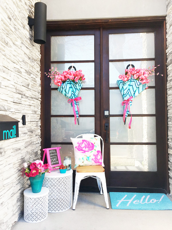 April Showers Bring May Flowers Front Porch Umbrella Wreaths