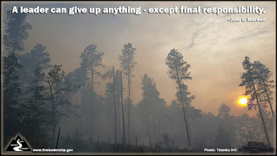 A leader can give up anything - except final responsibility. –John C. Maxwell  (smoky forest with sun trying to shine through)