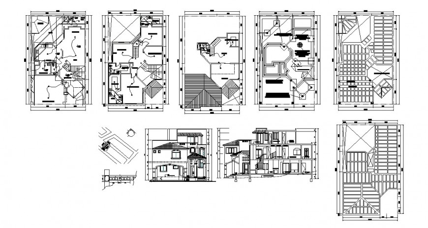HOUSE THREE-STORY MAIN ELEVATION, SECTION, PLAN AND AUTOCAD