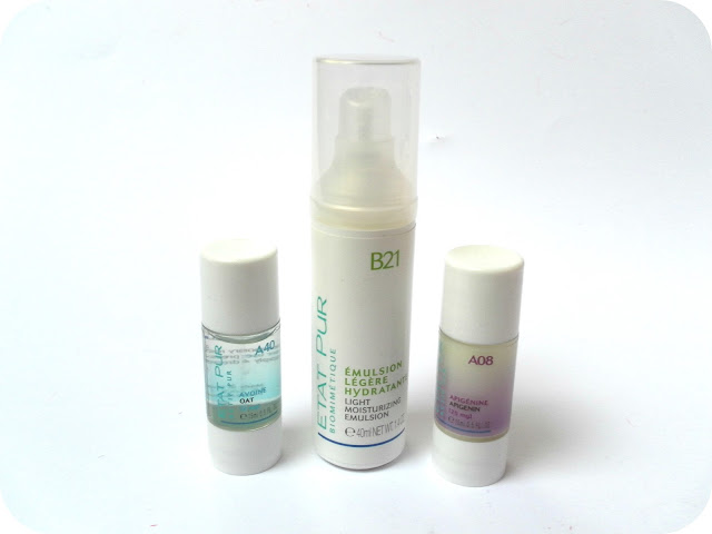 A picture of Etat Pur Oat A40, Etat Pur B21 Light Moisturiser Emulsion and Etat Pur Apigenin A08