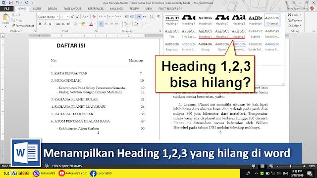 Cara menamplkan heading 1,2,3 yang hilang di Microsoft word + video