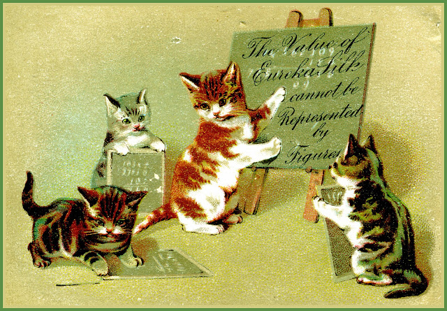kittens with chalk boards advertising Eureka Silk thread