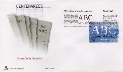 Sobre PDC del sello del 2003 dedicado al diario centenario ABC