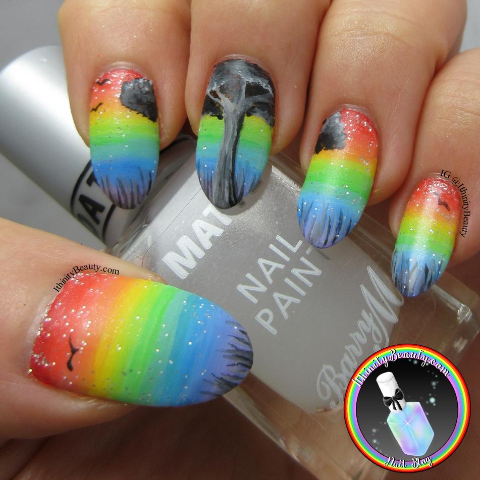 Freehand Rainbow Tree Nails | IthinityBeauty.com Nail Art Blog