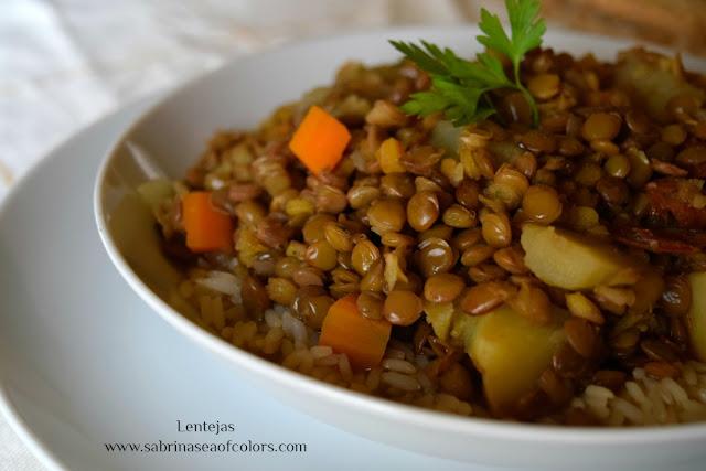Lentejas con arroz, receta rápida