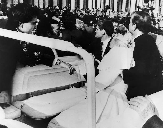 Pope John Paul II shot down.