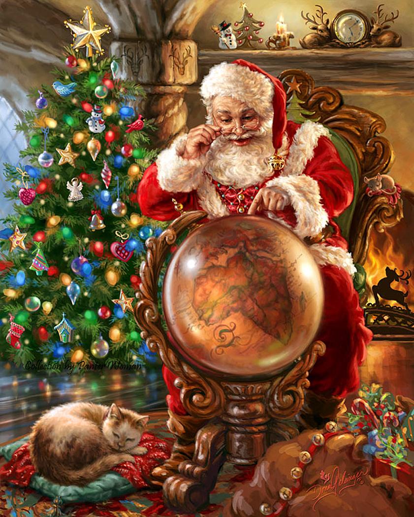 Painted Santas On Wood