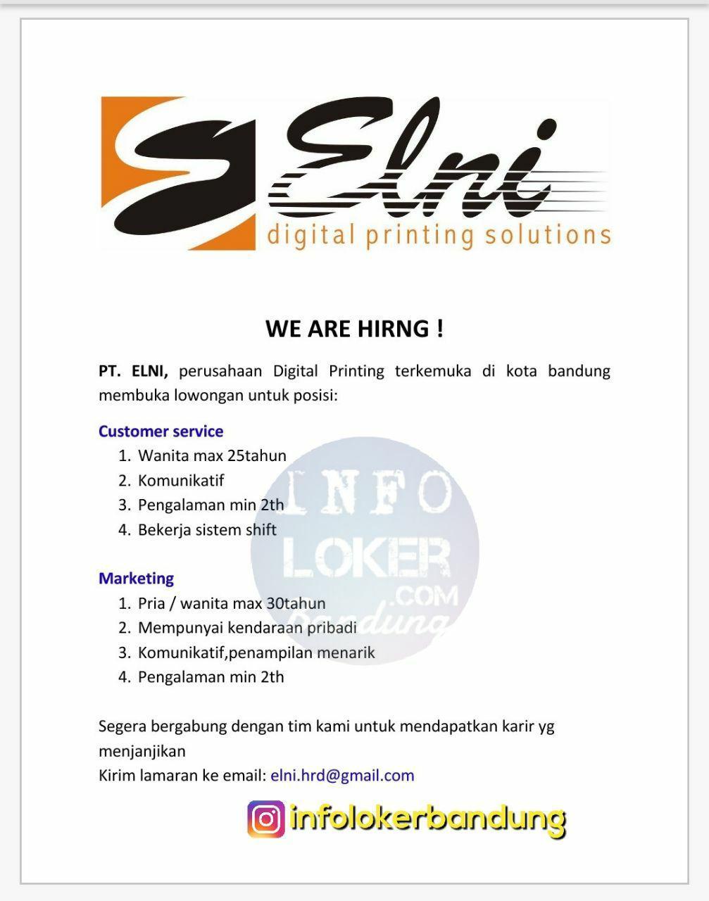 Lowongan Kerja PT. ELNI Digital Printing Solutions Bandung November 2017
