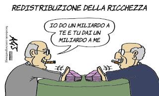 redistribuzione della ricchezza, povertà, differenze sociali, vignetta, satira