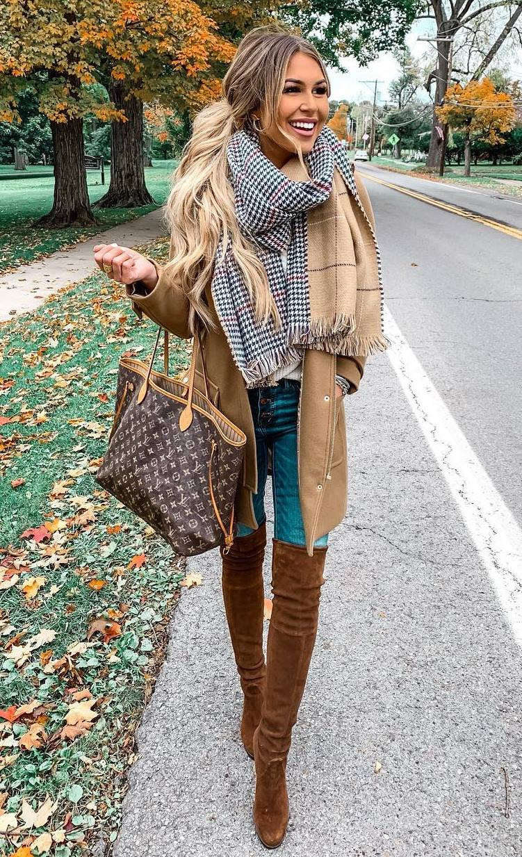 cozy fall outfit / brown over knee boots + jeans + scarf + bag + coat + top