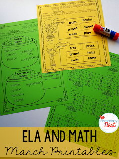 St. Patrick's Day and Spring ELA and Math printables for students- activities for morning work, homework, supplemental resources, and more