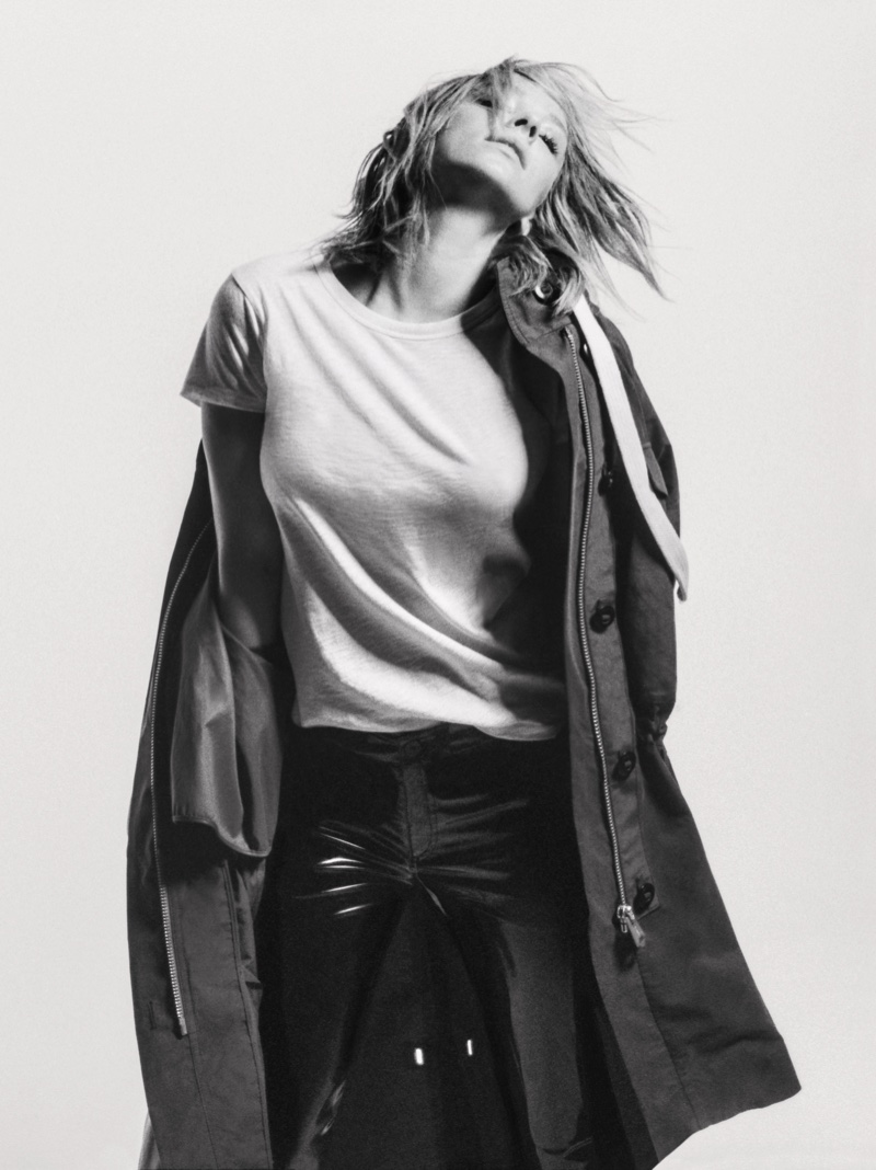 Haley Bennet wears Rag & Bone Voltaire Parka in Dark Olive, The Tee in Bright White and RBW23 Pants in Black Patent