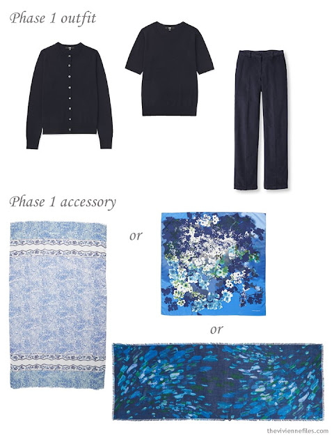 adding a scarf to a 4 by 4 Wardrobe in Navy with floral accents