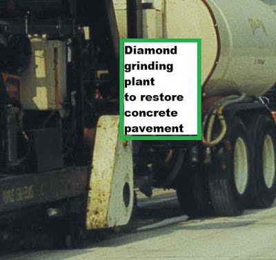Diamond grinding plant to restore concrete pavement for quiet and skid resistant experience.