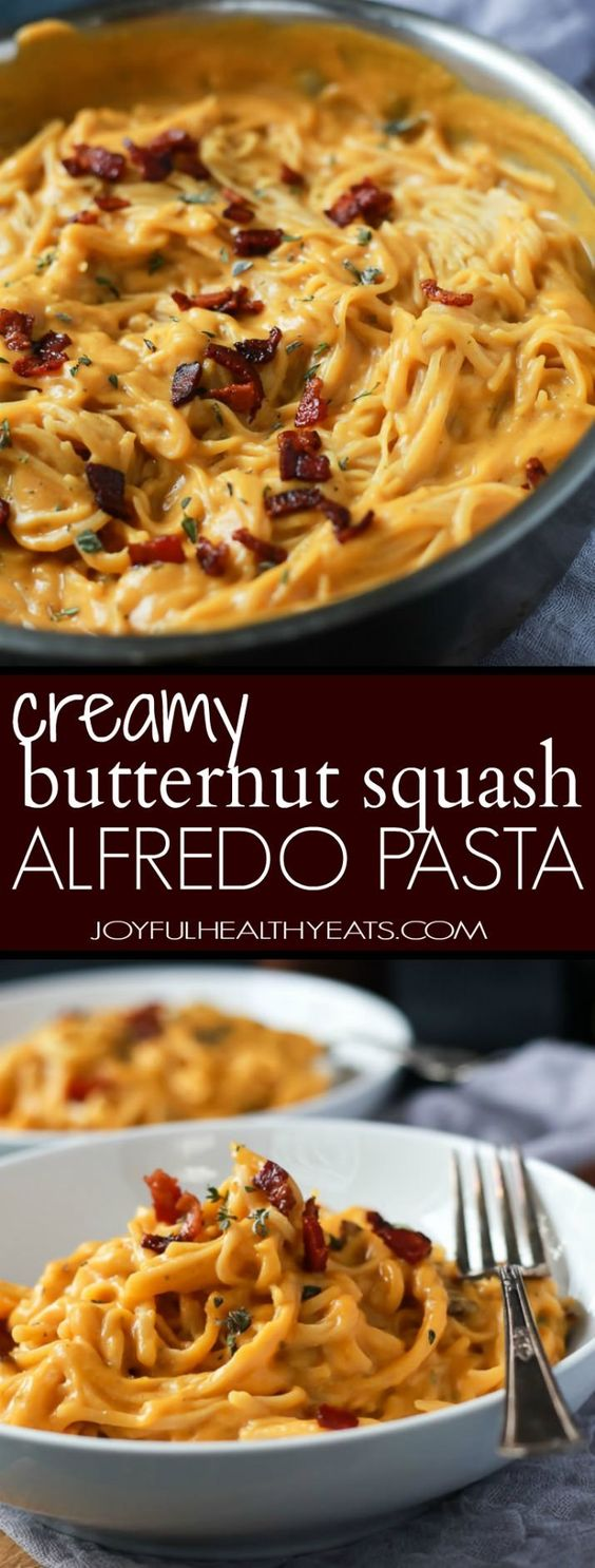 Creamy Butternut Squash Alfredo Pasta permeated with fresh sage and thyme then perfected with a garnish of salty bacon on top! The fall recipe is silky smooth, luscious, healthy and absolutely…