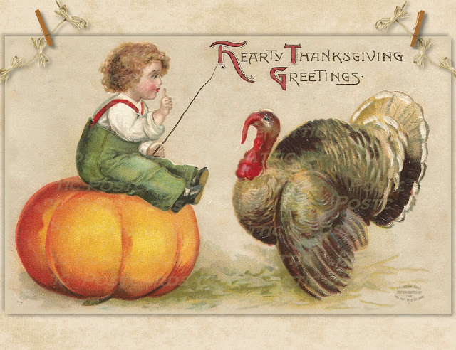 Handmade Postcard Set of 12 Thanksgiving Greeting Child on Pumpkin w/ Turkey