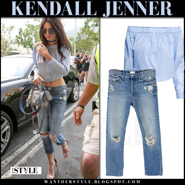 Kendall Jenner in light blue off shoulder hm top and ripped jeans mother denim what she wore streetstyle model