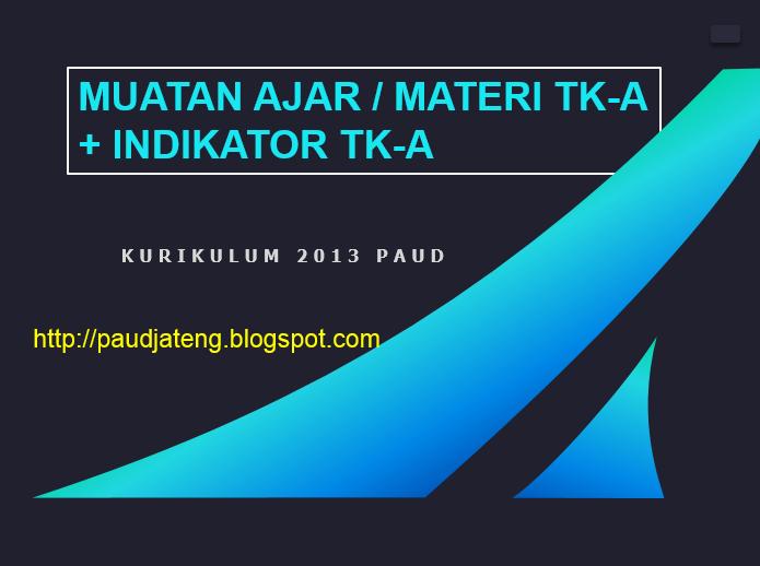 Materi / Muatan Pembelajaran TK-A Kurikulum 2013 PAUD ...