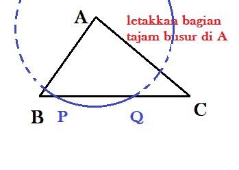 langkah cara melukis garis tinggi segitiga 1