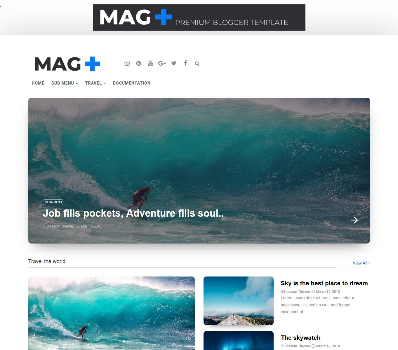 template blogger magzplus download gratis