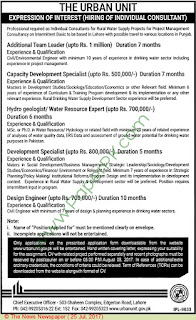 Hiring of Individual Consultant HydroGeologist, Water Resource Expert, Design Engineer in Urban Unit Pakistan July, 2017