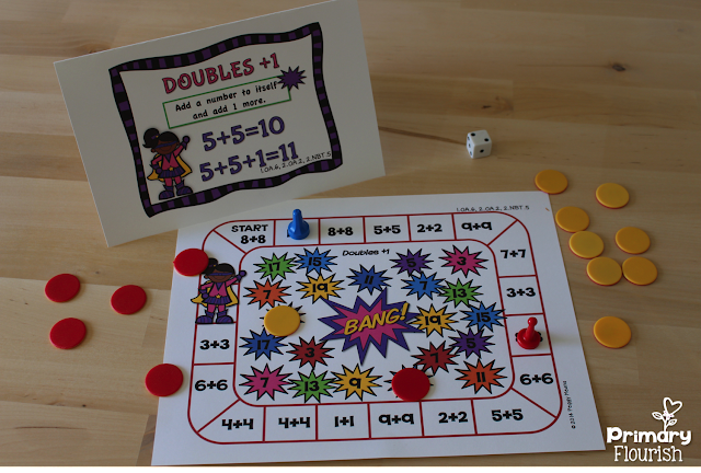 These math fact fluency addition games were designed using the mental math strategies. Research confirms that students learn the basic math facts quicker if they learn them in the context of the mental math strategies. Mental Math strategies not only help students increase their math fact fluency, but they are understanding number sense and how the numbers are related to each other.
