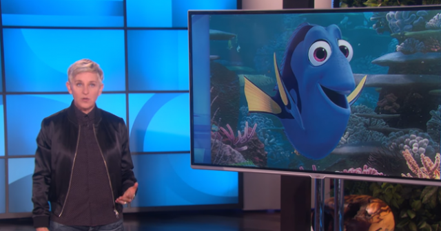 Ellen uses Finding Dory to talk  about Trump's muslim ban  #noban
