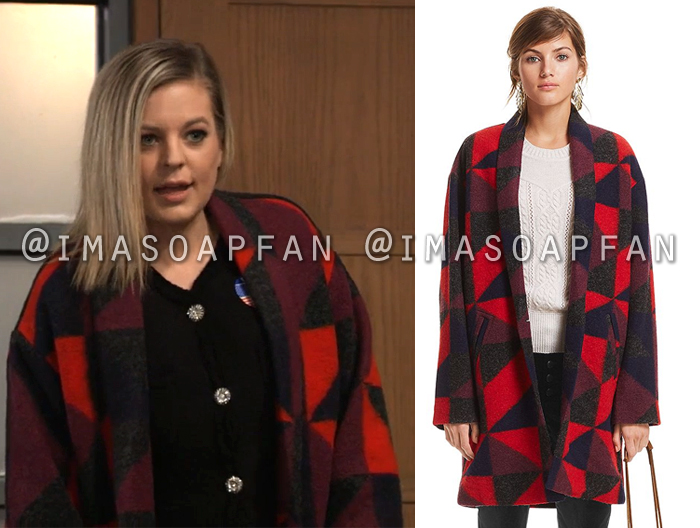 Maxie Jones, Kirsten Storms, Red Black and Purple Geometric Blanket Coat, General Hospital, GH