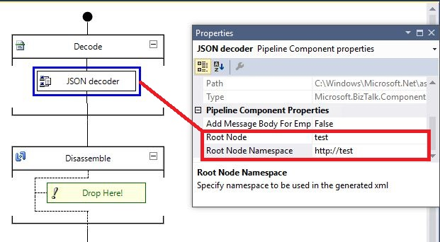 Root Node  and Namespace propertyin JSON decoder