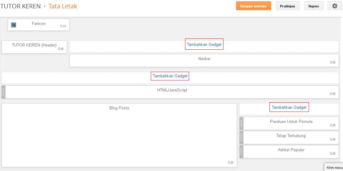 Menambahkan widget/gadget pada menu Tata Letak