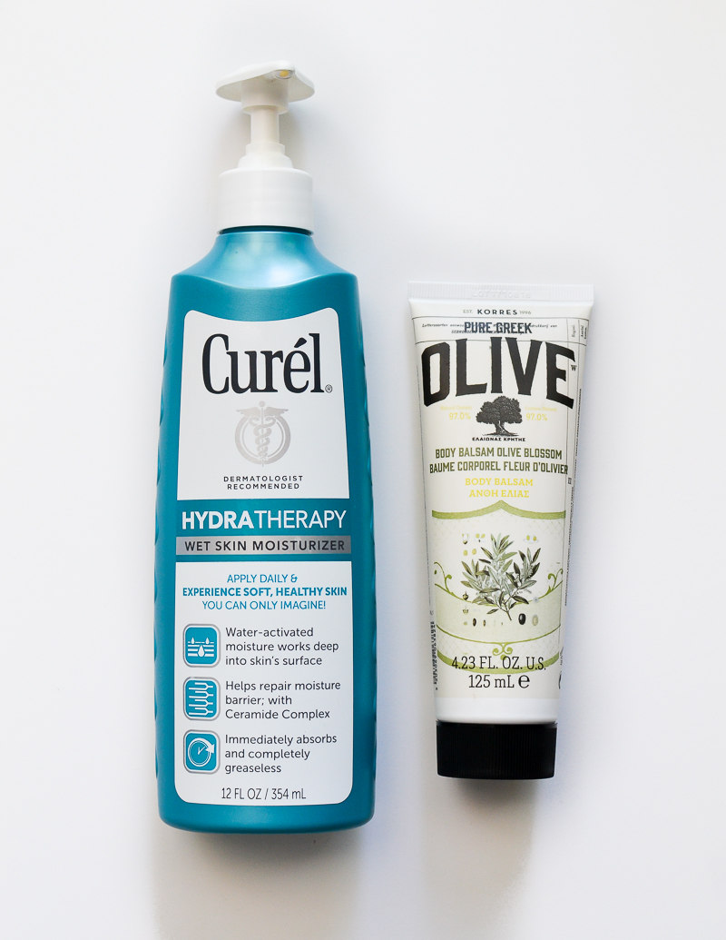 Summer Skincare with Curel Hydratherapy Wet Skin Moisturizer and Korres Olive Body Balsam