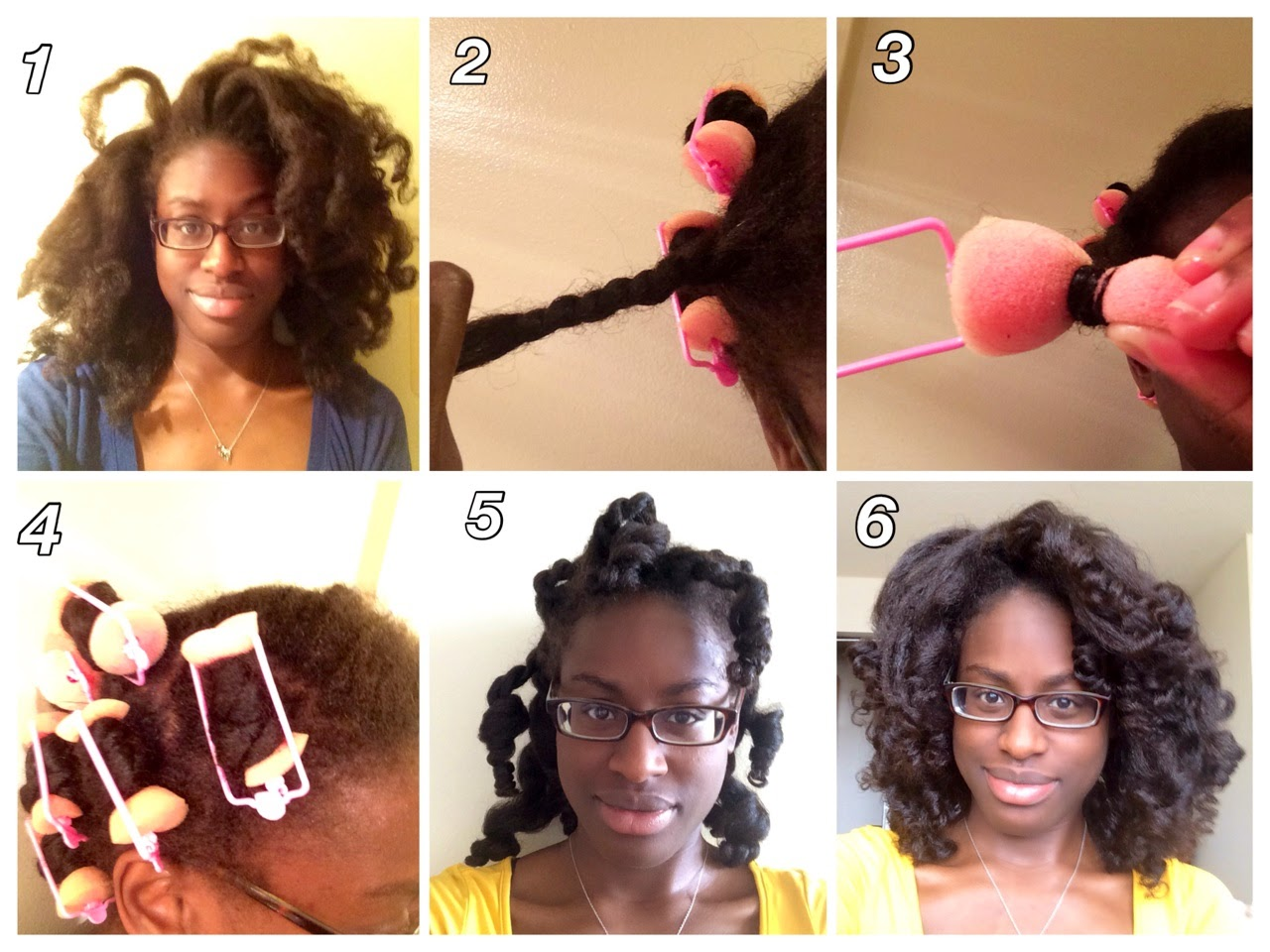 sponge roller set on natural hair