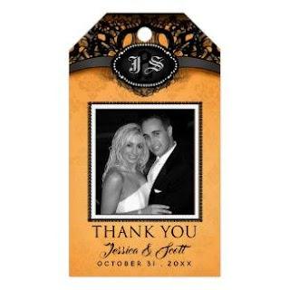 Orange & Black Wedding Custom Photo Thank You Gift Tags