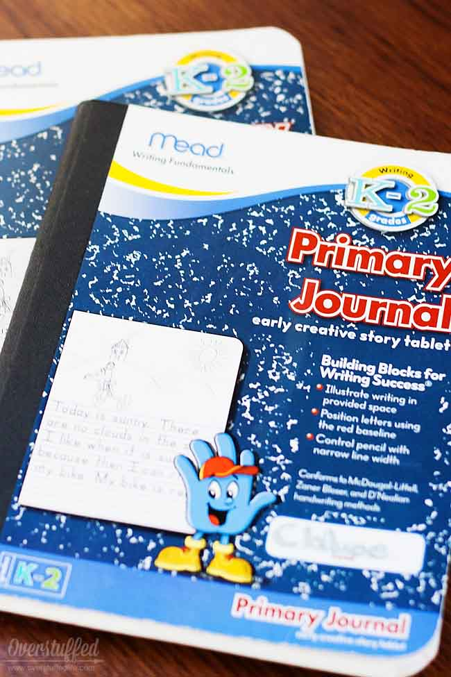 Use composition notebooks to make vacation journals for your kids. #overstuffedlife