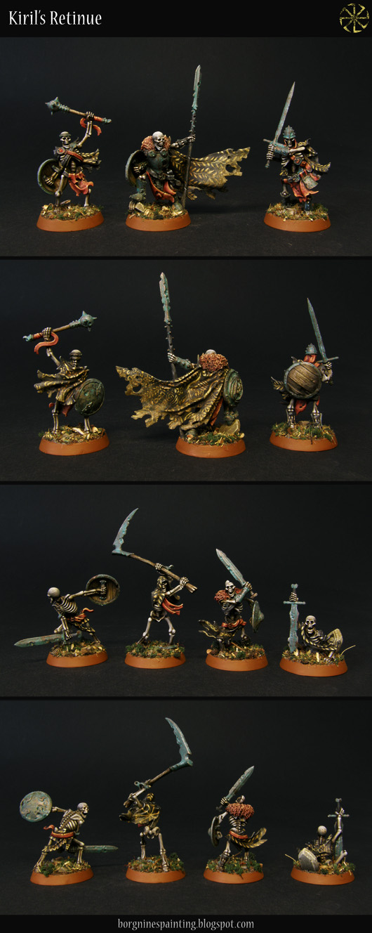 All members of the Sepulchral Guard, 7 miniature skeletons shown separately, painted with patinated armor and black clothes with yellow freehands.
