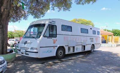 Ônibus do Hemocentro estará em Felipe Guerra neste Sábado (23) ao lado da Câmara de Vereadores