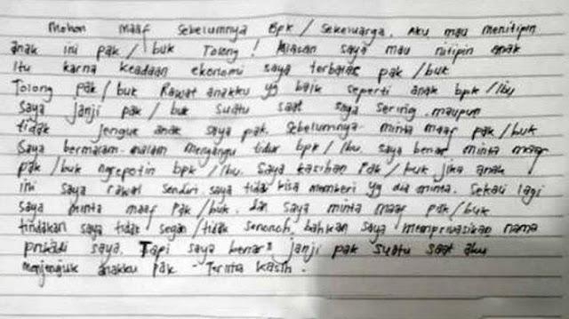 Begini Isi Surat yang Ditinggal di Dekat Bayi yang Di Buang di Teras Rumah Warga di Jombang