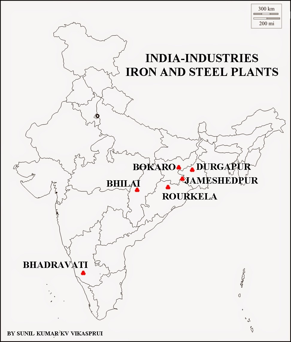 Geography and We: MAP WORK IRON AND STEEL PLANTS
