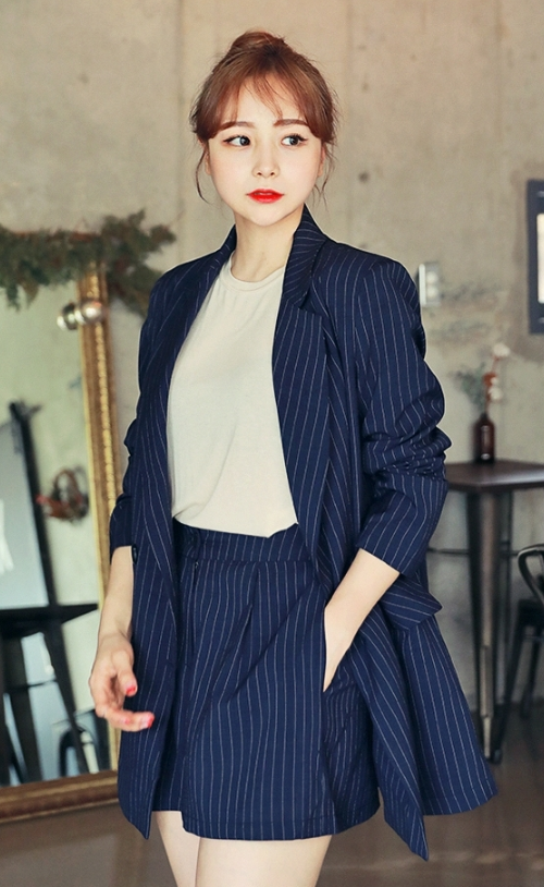 Double Breasted Pinstriped Coat
