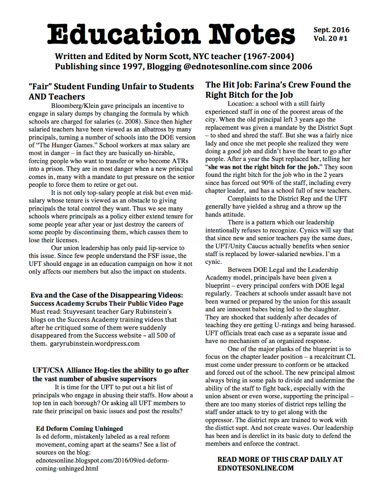 ed notes online 2016 last week for the first time in a decade i put together and distributed an edition of education notes for the 14 uft chapter leader meeting