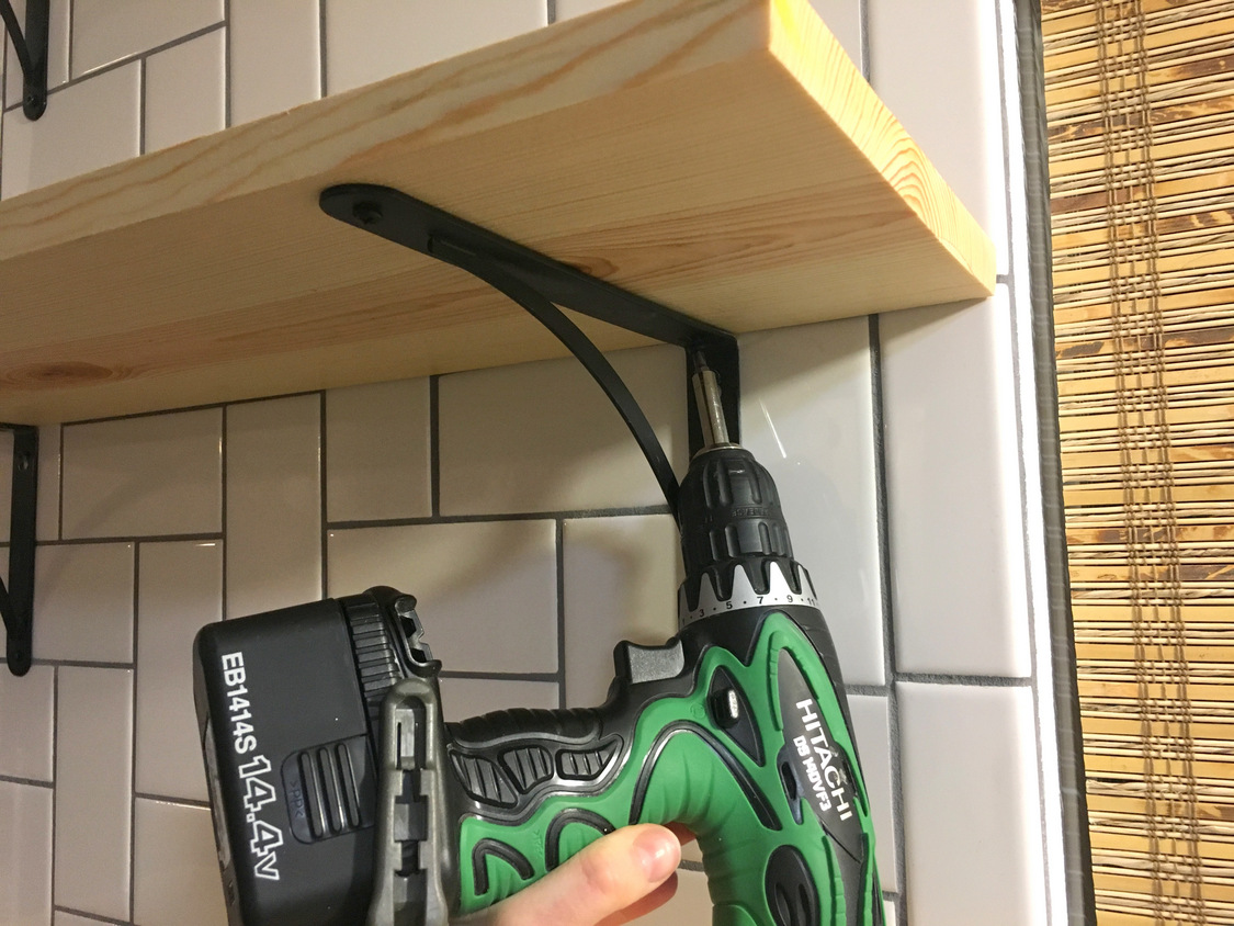 How To Install Basic Open Kitchen Shelves Over Tile A Wiring Pot Lights Tutorial Kinda Mom And Her Drill Thats It For The Construction Part Nows Harder Artistic Styling Them I Think That Will Be An Evolving Process Us But Starters Is