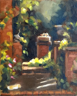 Oil painting of short brick pillars overgrown by vegetation and illuminated by afternoon light.
