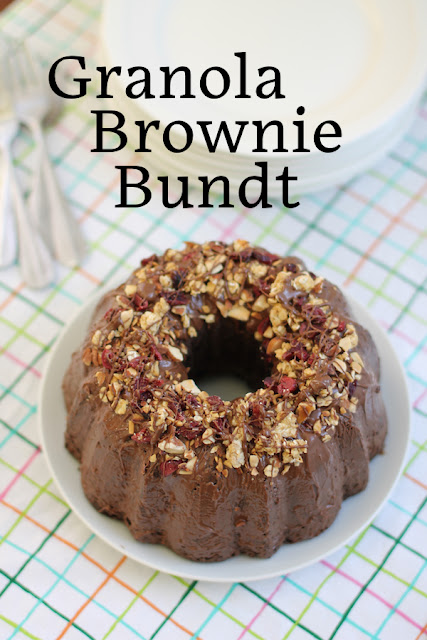 Food Lust People Love: When you are looking for a dessert you can also eat for breakfast, consider this granola brownie Bundt! It's full of good stuff like dried cranberries, toasted almonds and crunchy granola, in a thick brownie batter.